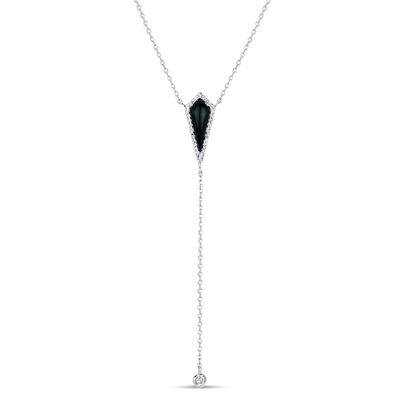 Womens Black Onyx Y Necklace