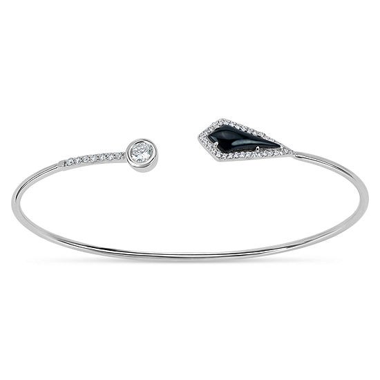 Black Onyx Sterling Silver Round Bangle Bracelet