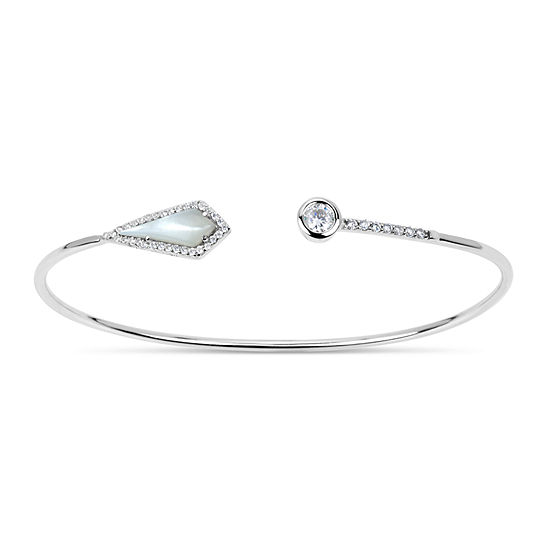 White Mother Of Pearl Sterling Silver Round Bangle Bracelet