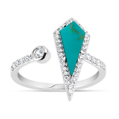 Womens Simulated Turquoise Sterling Silver Cocktail Ring