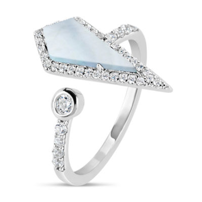 Womens White Mother Of Pearl Sterling Silver Cocktail Ring