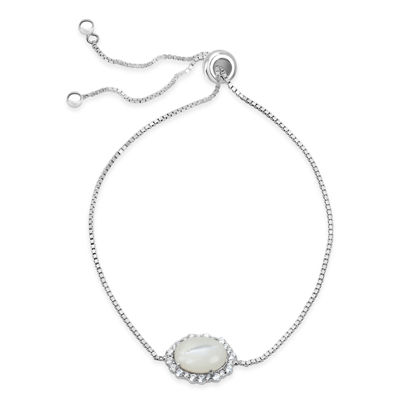 White Mother Of Pearl Sterling Silver Round Bolo Bracelet