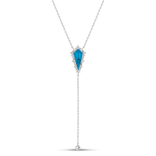 Womens Simulated Turquoise Y Necklace