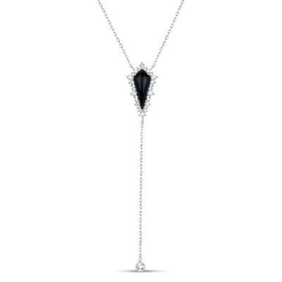 Womens Black Onyx Sterling Silver Y Necklace