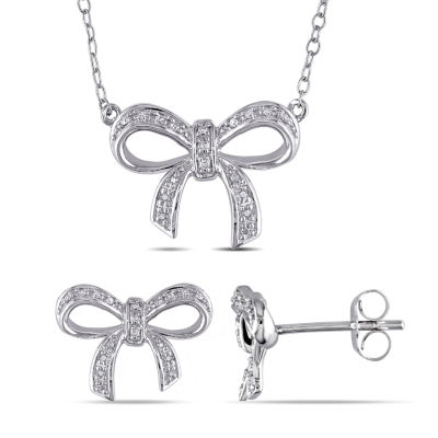 1/10 CT. T.W. Genuine White Diamond Bow Jewelry Set