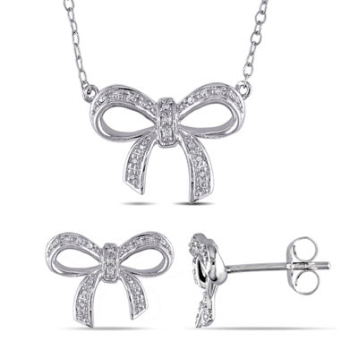 1/10 CT. T.W. Genuine White Diamond Sterling Silver Bow Jewelry Set
