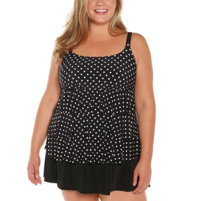 St. John's Bay Polka Dot Swim Dress Plus