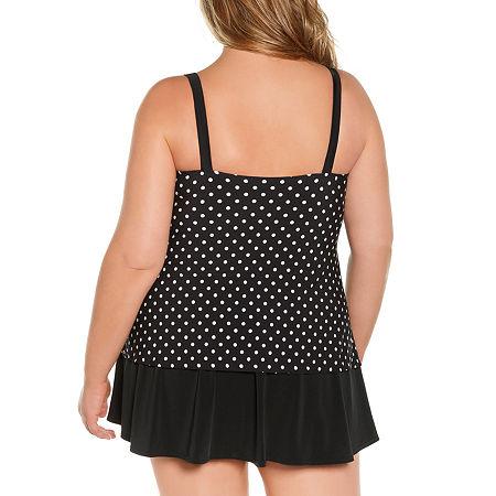 St. John's Bay Polka Dot Swim Dress Plus, 22w , Black