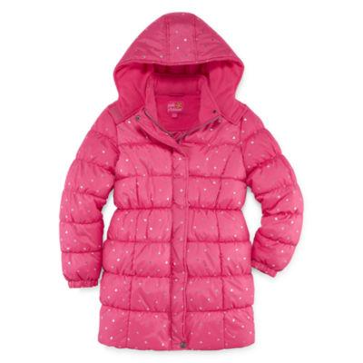 Pink Platinum Heavyweight Star Puffer Jacket - Girls-Big Kid