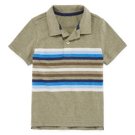 Arizona Boys Spread Collar Short Sleeve Polo Shirt - Toddler