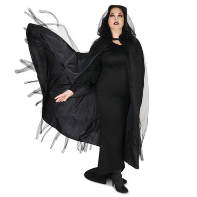 Hooded Lined Black Mesh Adult Plus Cape