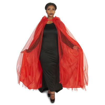 Hooded Lined Red Mesh Adult Plus Cape