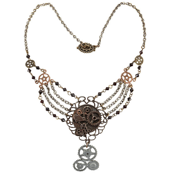 Steampunk Gear Chain Antique Necklace