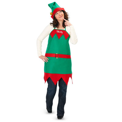 Elf Holiday Apron and Hat - Adult/One-Size