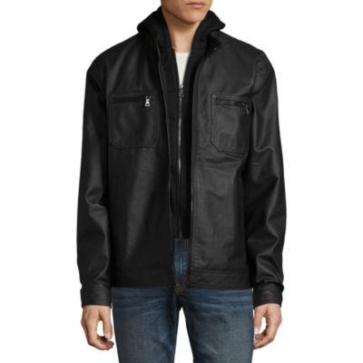 Vintage Leather Racing Jacket With Detachable Hood
