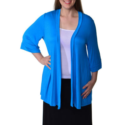 24/7 Comfort Apparel 3/4 Sleeve Cardigan-Plus