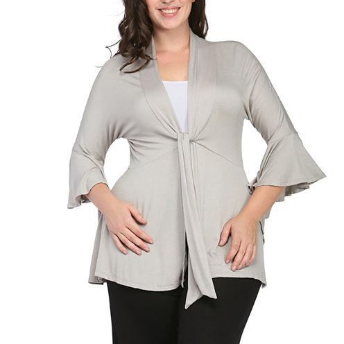 24/7 Comfort Apparel 3/4 Bell Sleeve Cardigan Plus