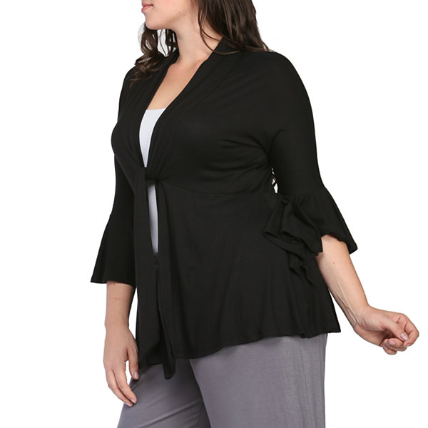 24/7 Comfort Apparel 3/4 Bell Sleeve Cardigan Plus