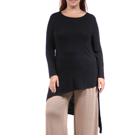 24/7 Comfort Apparel Extra Long Diagonal Tunic Top-Plus