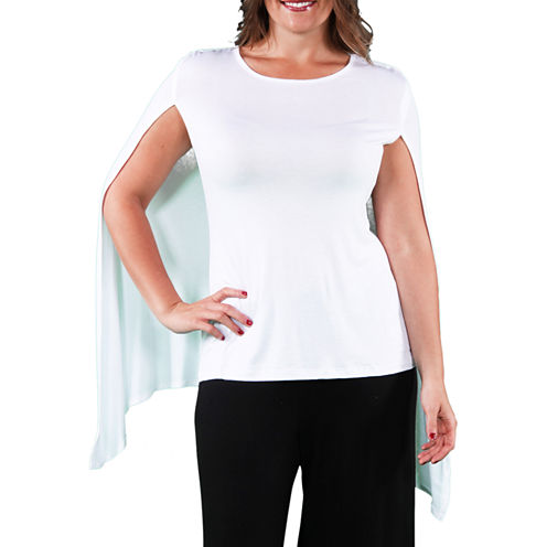 24/7 Comfort Apparel Sleeveless Tank With Cape Knit Blouse-Plus
