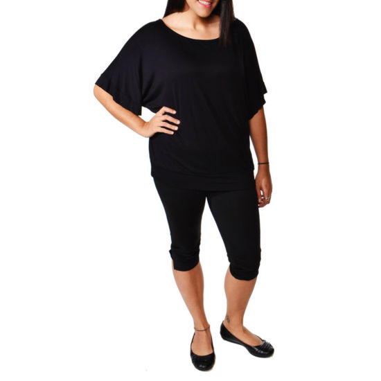 24/7 Comfort Apparel Banded Dolman T-Shirt-Womens Plus