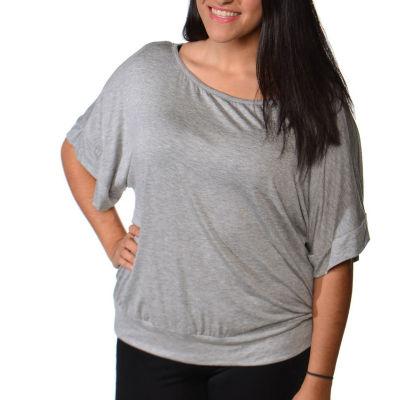 24/7 Comfort Apparel Banded Dolman T-Shirt-Womens Plus