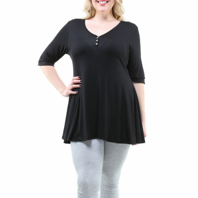 24/7 Comfort Apparel Henley Womens Tunic Top-Plus
