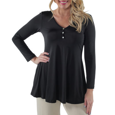 24/7 Comfort Apparel Three Button Henley Womens Tunic Top-Plus