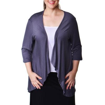 24/7 Comfort Apparel Open Shrug Cardigan Plus