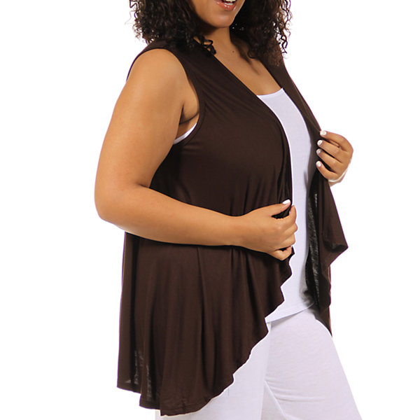 24/7 Comfort Apparel Sleeveless Shrug Vest-Plus