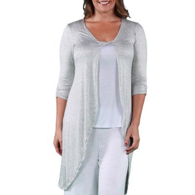 24/7 Comfort Apparel Sleeveless Long Shrug Cardigan-Plus