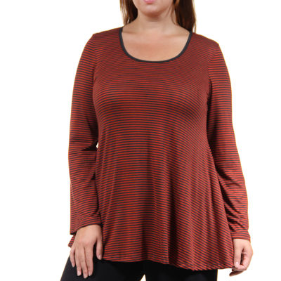 24/7 Comfort Apparel Red Striped Tunic Top Plus