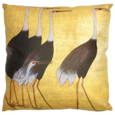 Oriental Furniture Walking Cranes Throw Pillow