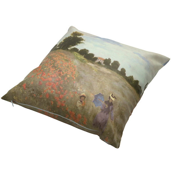 Oriental Furniture Monet Poppies Throw Pillow