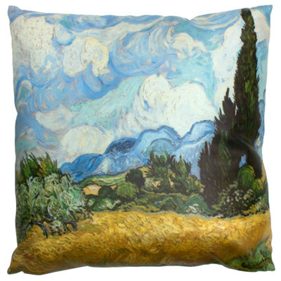 Oriental Furniture Van Gogh Wheat Field Throw Pillow