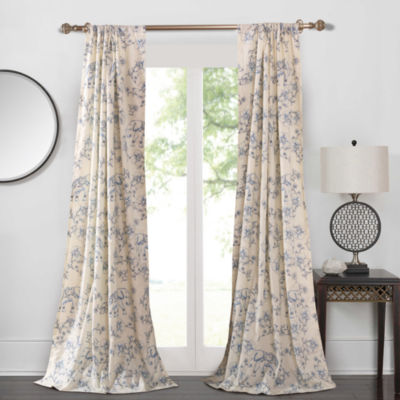 Barefoot Bungalow Saffi Blue Elephant Rod-Pocket Curtain Panel