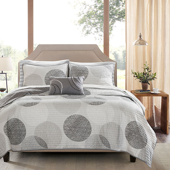 Madison Park Essentials Glendale Complete Reversible  Coverlet  & Cotton Sheet Set