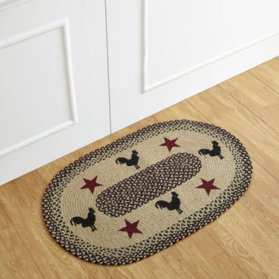 Better Trends Whimsical Rooster Print Braided Oval Rugs