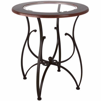 """Jericho Glass And Warm Stained Brown 42"""" Bar Height Pub Table"""