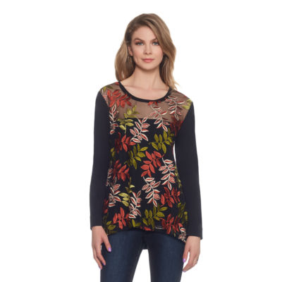 Skyes The Limit Sullivan County Embroidered Mesh Flounce Top- Plus