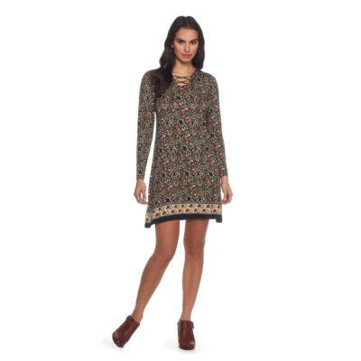 Skyes The Limit Sullivan County Lace Up Foulard Border A-Line Dress- Plus