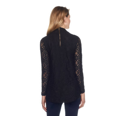 Skyes The Limit Venezia Mock Neck Stretch Lace Top- Plus