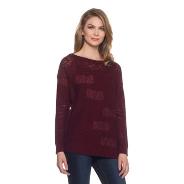 Skyes The Limit Venezia Lace Patch Sweater- Plus