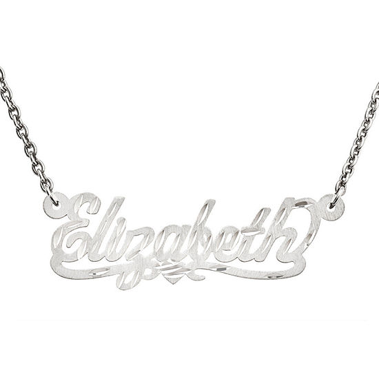 Personalized 13x35mm Diamond-Cut Scroll Name Necklace