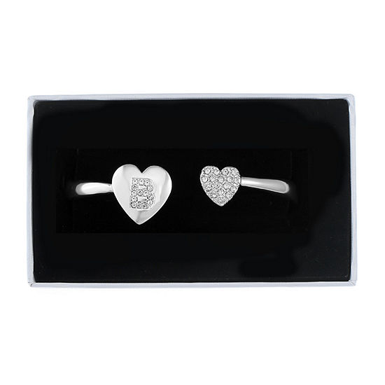 Liz Claiborne Silver Tone Solid Heart Bangle Bracelet