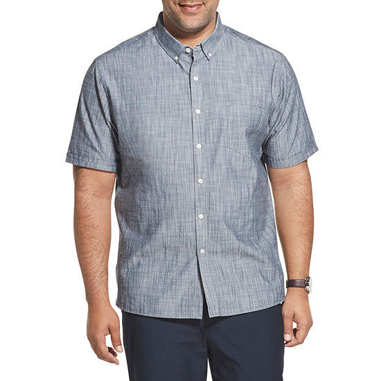 Van Heusen Ss Chambray Y/D Slub Mens Short Sleeve Button-Front Shirt Big and Tall