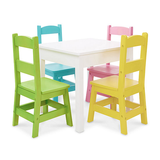Swell Melissa Doug Table 4 Chairs Pastel 5 Pc Kids Table Chairs Painted Gmtry Best Dining Table And Chair Ideas Images Gmtryco