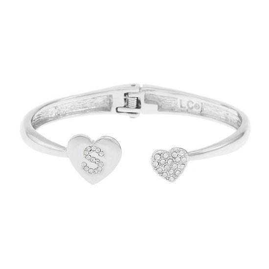 Liz Claiborne Silver Tone Solid Heart Bangle Bracelet