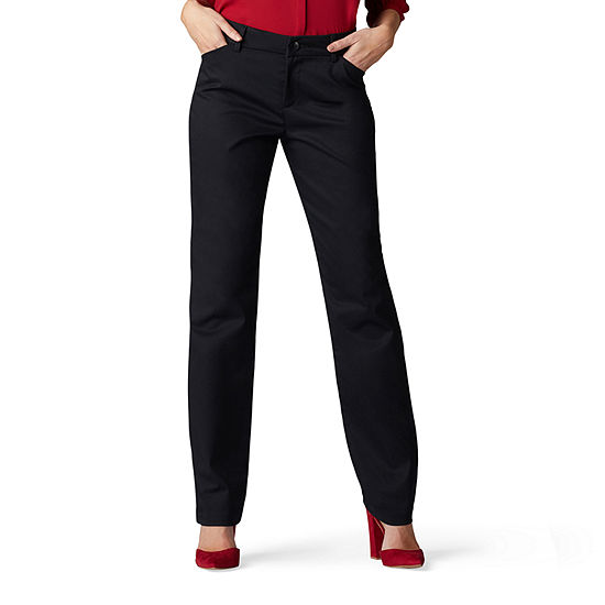 Lee® Wrinkle Free Relaxed Pant Womens Mid Rise Straight Flat Front Pant