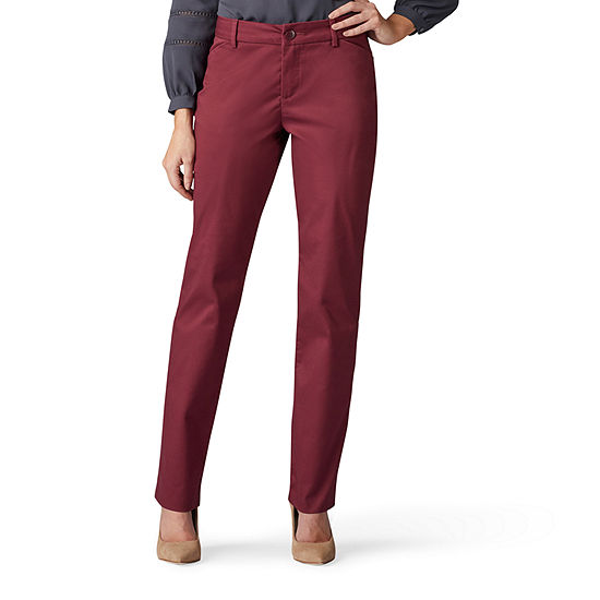 Lee Wrinkle Free Relaxed Womens Mid Rise Straight Flat Front Pant